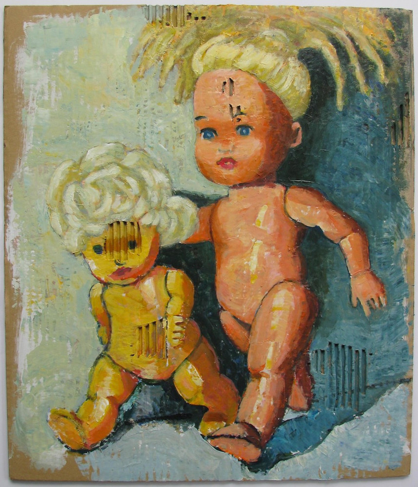 "Acrylic painting Two Dolls (""Strolling"")  by Gary Jenkins"
