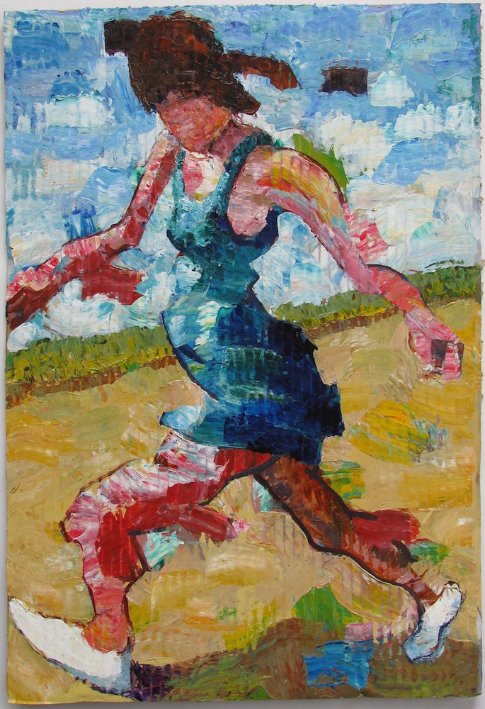 Acrylic painting Woman Walking on a Beach  by Gary Jenkins