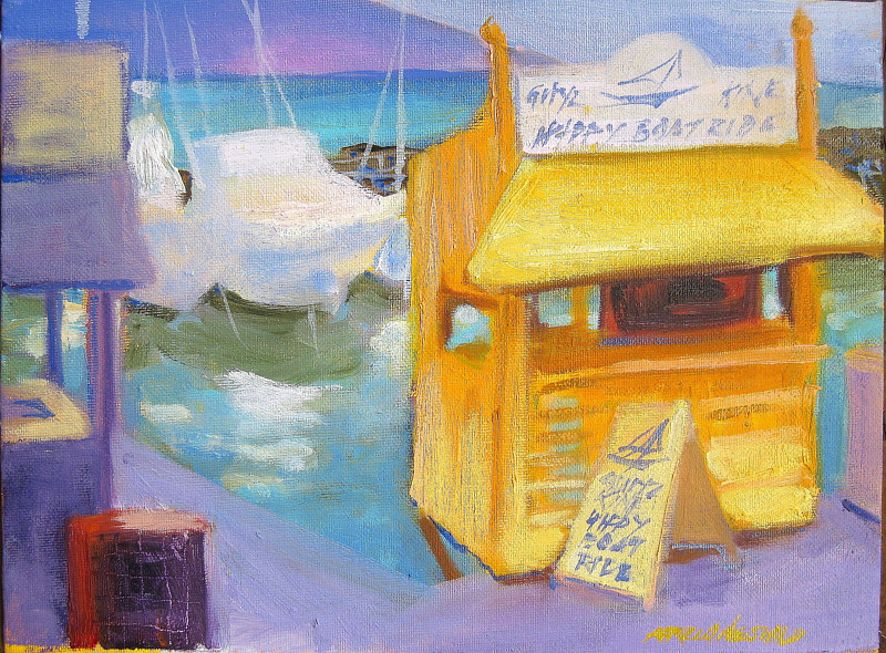 Oil painting Lahaina Harbor Happy Boat Ride Activity  by Pamela Neswald
