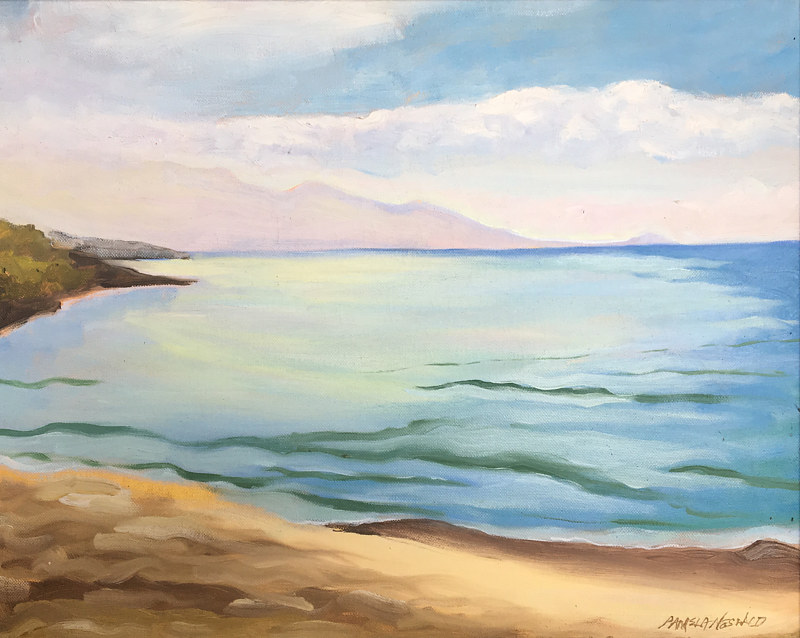 Oil painting Morning Light Grandma's surf spot - Serenity Series by Pamela Neswald