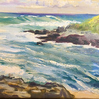 Oil painting Ho'okipa Cove by Pamela Neswald