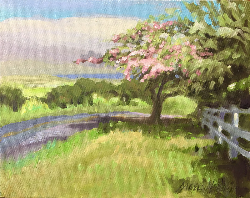 Oil painting Rain Makes the Shower Trees Flower by Pamela Neswald