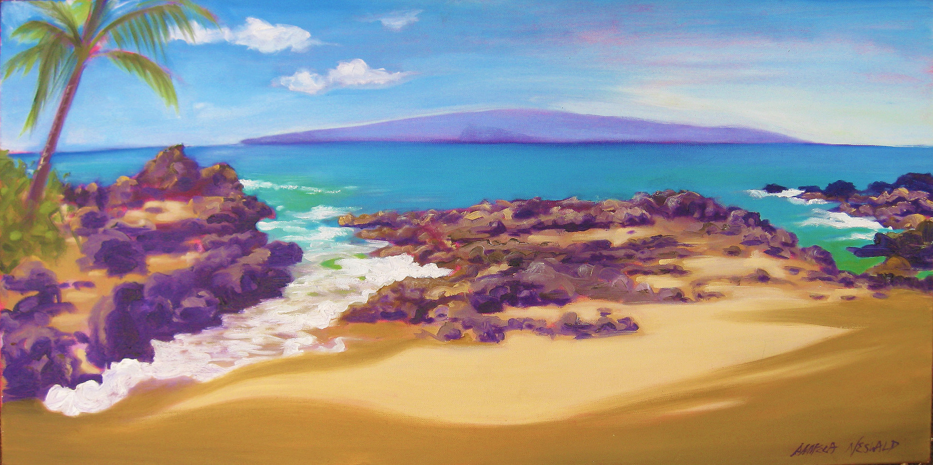 Oil painting Big Secret Beach  by Pamela Neswald