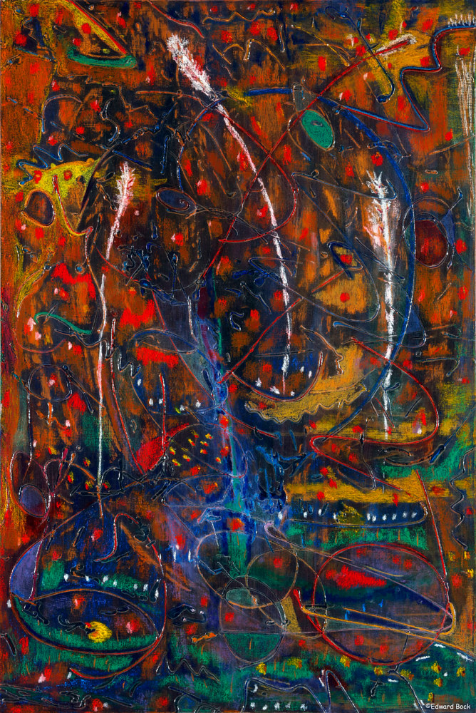 Acrylic painting Night Reef   36x24 inches $1800.00 by Edward Bock