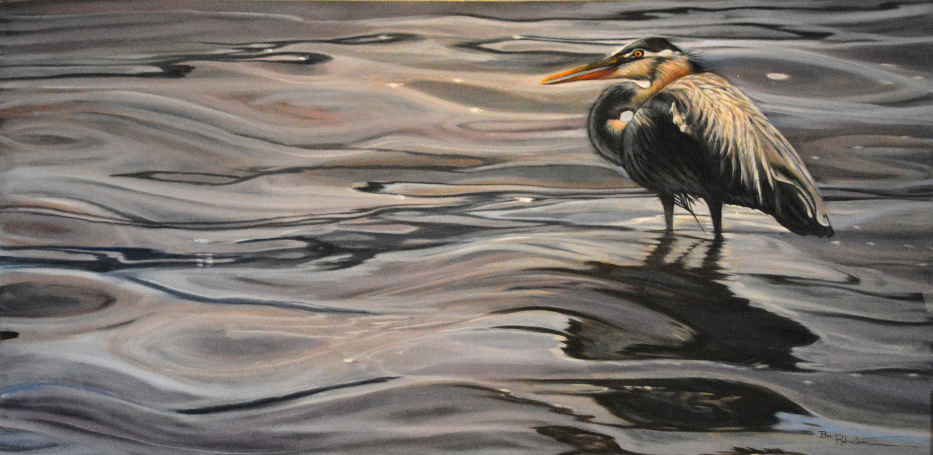 Bev Robertson Oil on Canvas Great Blue 18x36 201810  by Bev Robertson