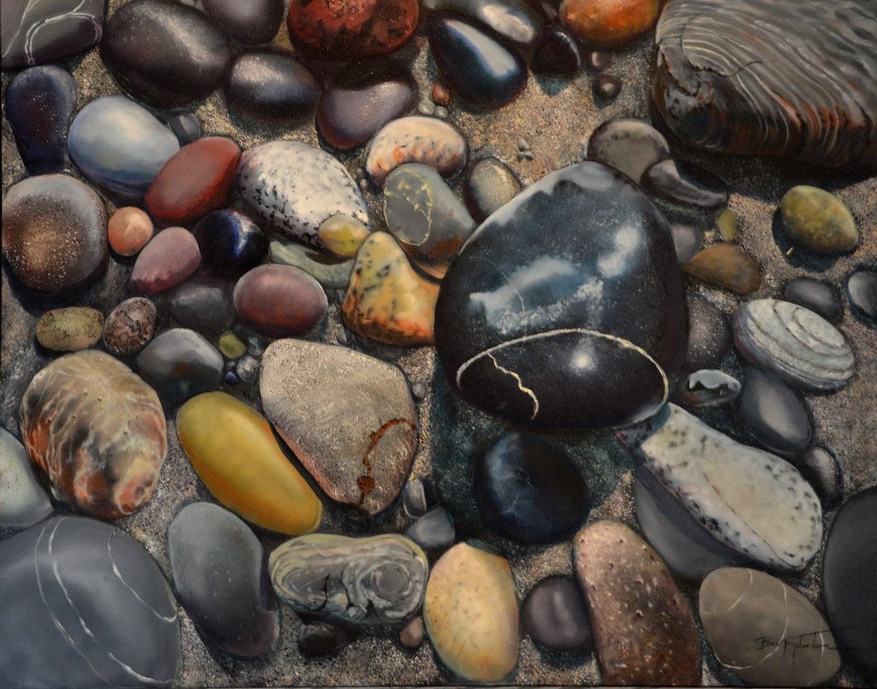 Painting Wishing Stones  by Bev Robertson