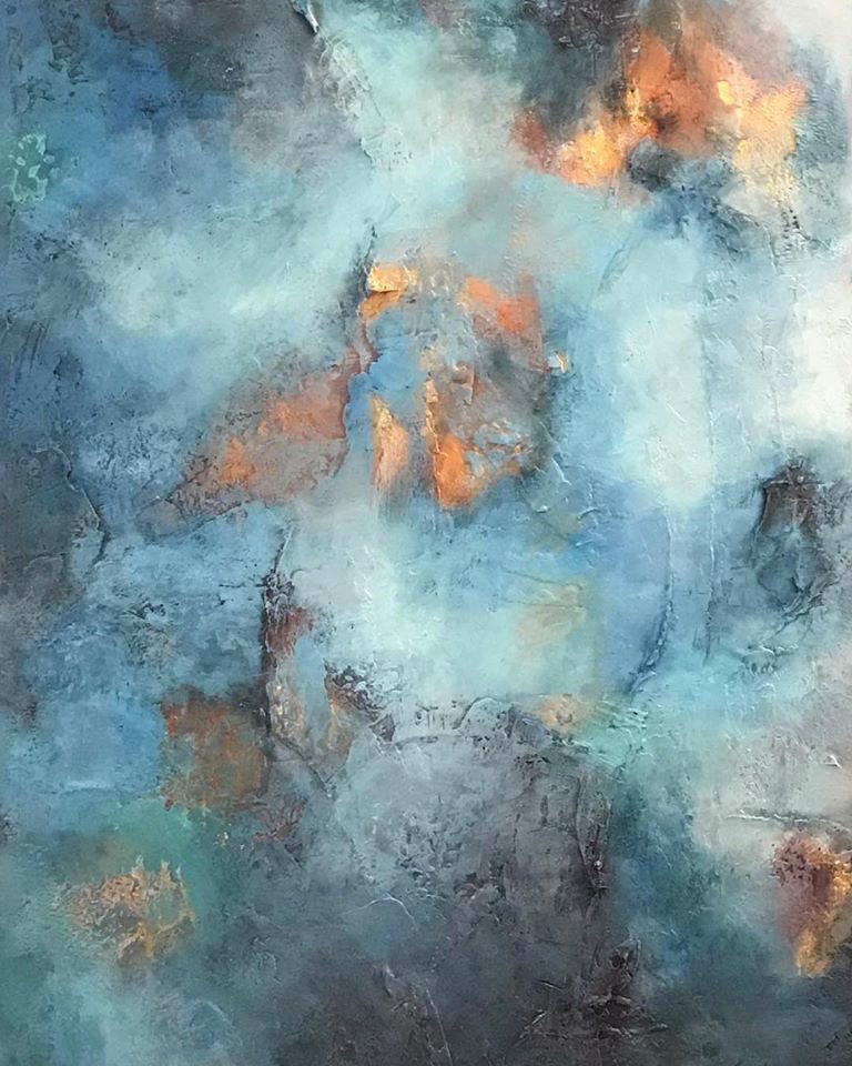 Acrylic painting Clouds Collide by Ginger Thomas