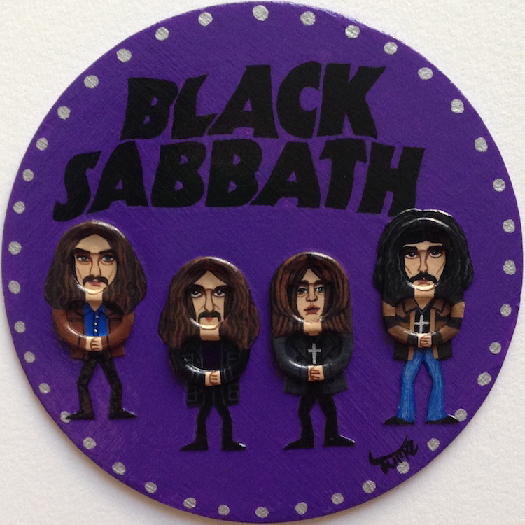 Acrylic painting Black Sabbath Coaster Art by Yumi Knight