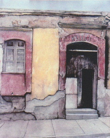 Mixed-media artwork Hotel (from Oaxaca Walls series) by Barbara Nichols