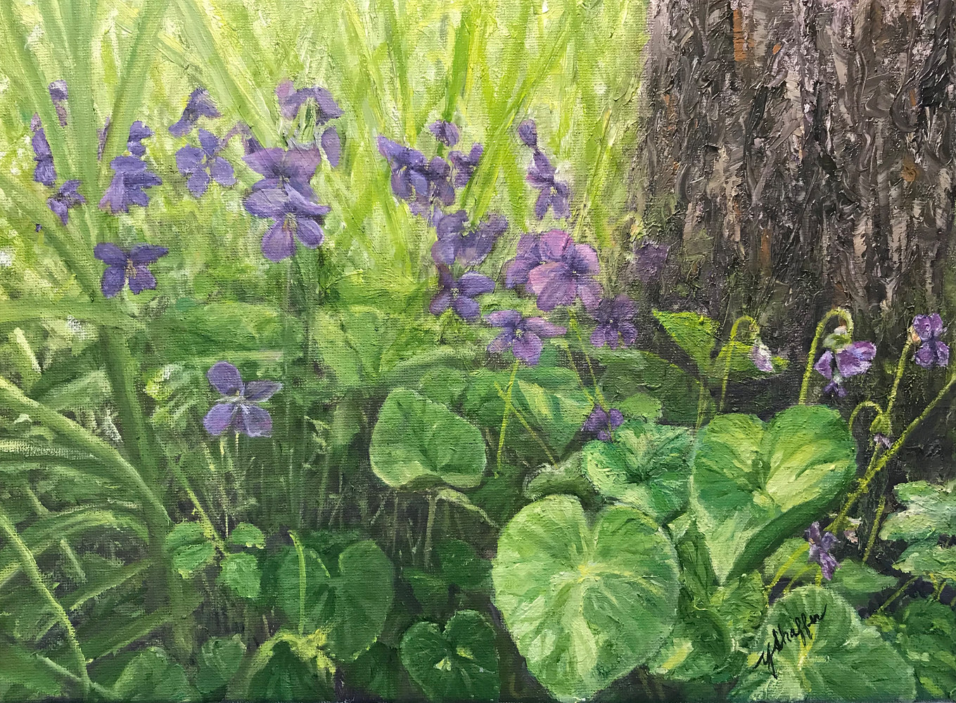 Oil painting Sweet Violets  by Yvonne Shaffer