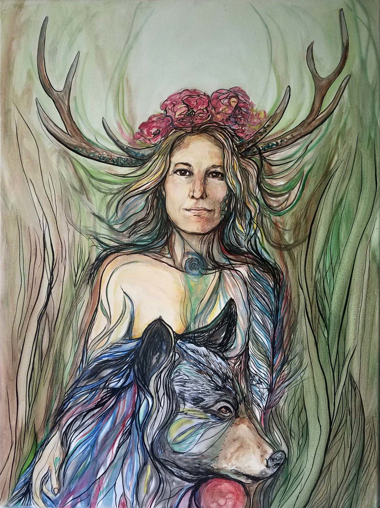 Watercolor Forest Woman by Cary Wyninger