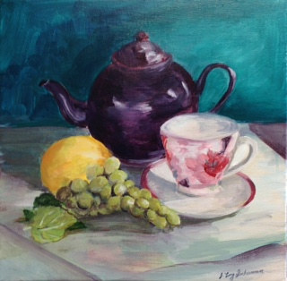 Acrylic painting Tea Pot with lemon, grapes and cup by June Long-schuman