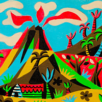 Acrylic painting the Volcano's Afternoon Display by Kenneth M Ruzic