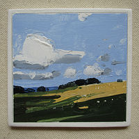 Acrylic painting Cloud Over Bean Field by Harry Stooshinoff