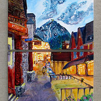 Acrylic painting Bear Street, Banff by Jasmine Calix