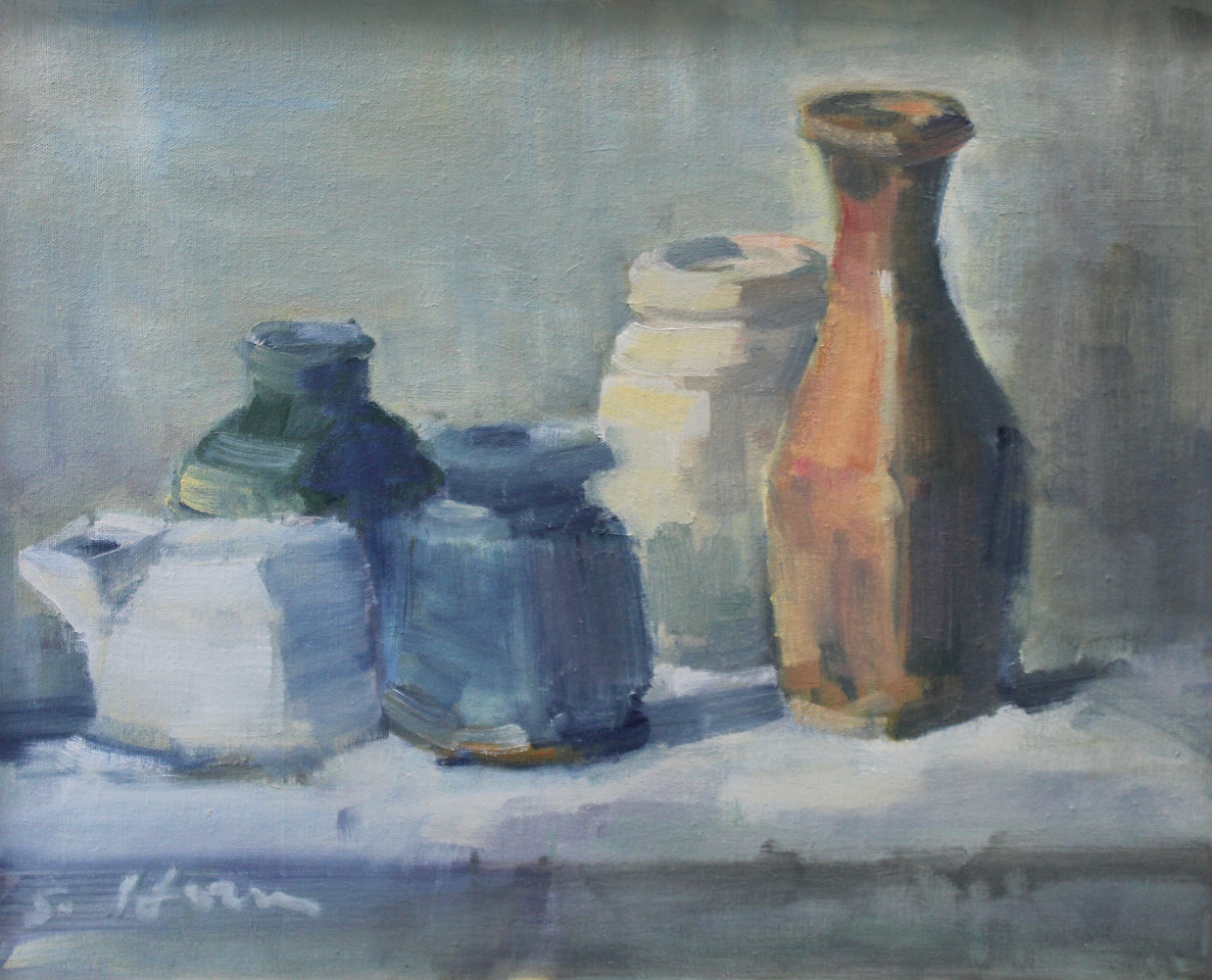 "Still Life With Burnt Orange Vase, oil on board, 16""x20"" by Susan Horn"