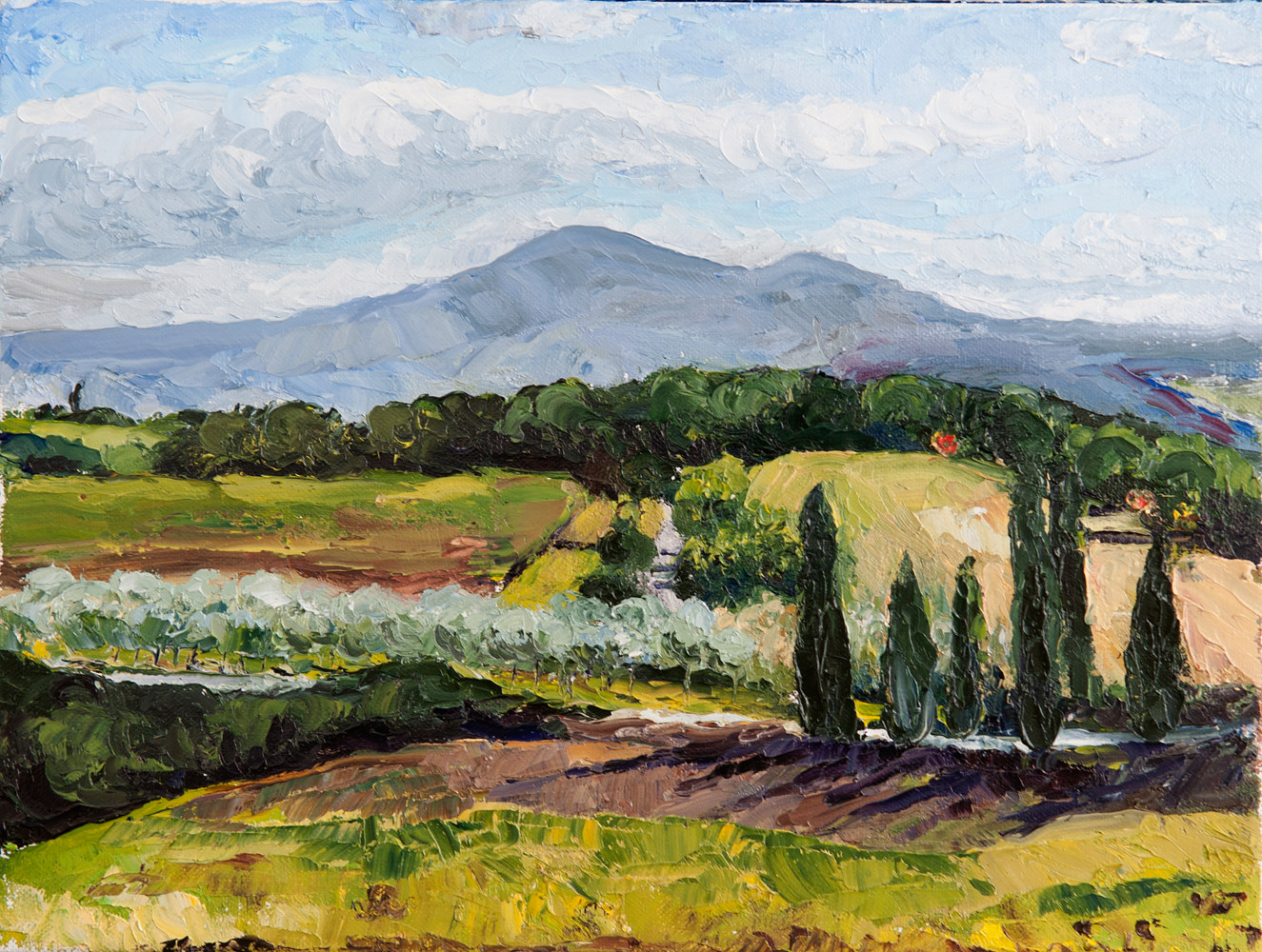 Oil painting Tuscan Landscape, val d'orcia by Kathleen Gross