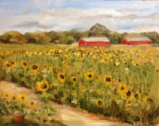 Oil painting Sunflowers at Waterdrink Farm by June Long-schuman