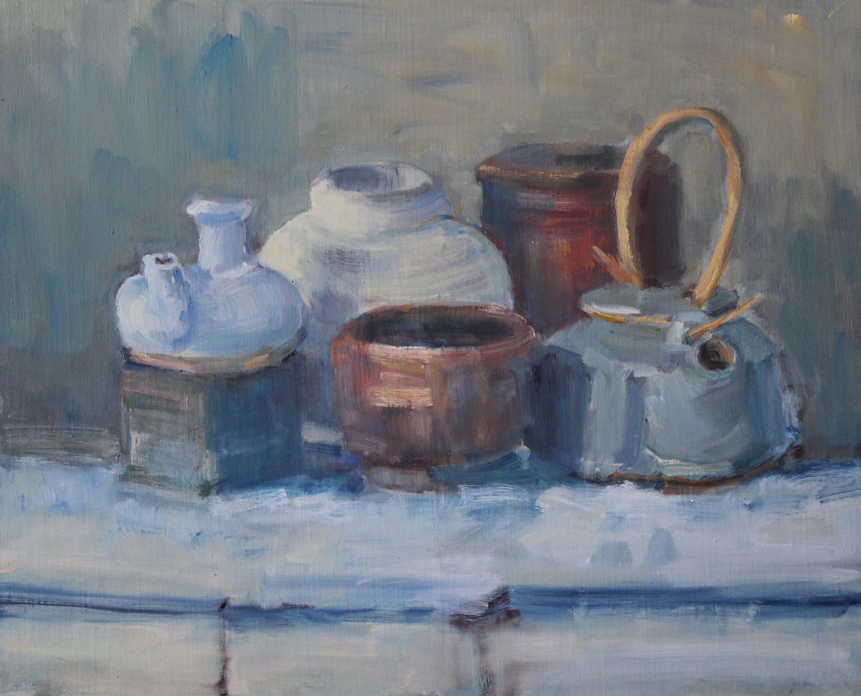 "Blue Tea Kettle, oil on board, 16""x20"" by Susan Horn"