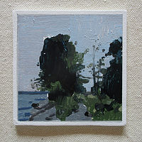 Acrylic painting RESERVED FOR MIRANDA, Tree at Lakeside by Harry Stooshinoff