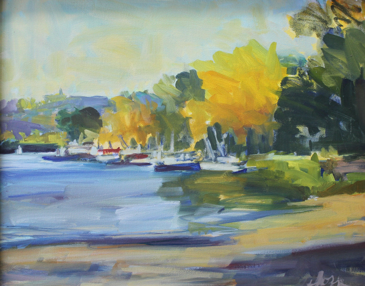 "St. Croix Beach. oil on canvas, 16""x20"" by Susan Horn"