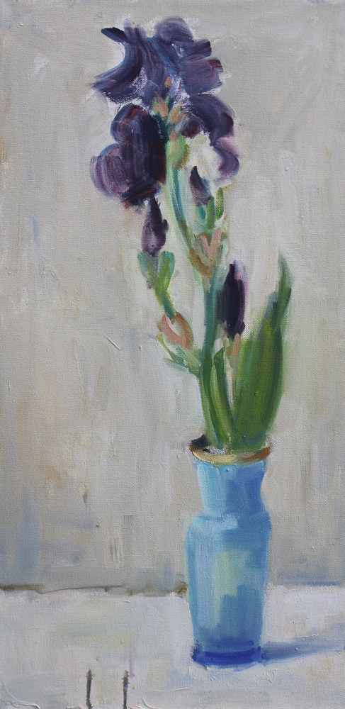 "Iris In Blue Vase, oil on canvas, 24"" x 12"" by Susan Horn"