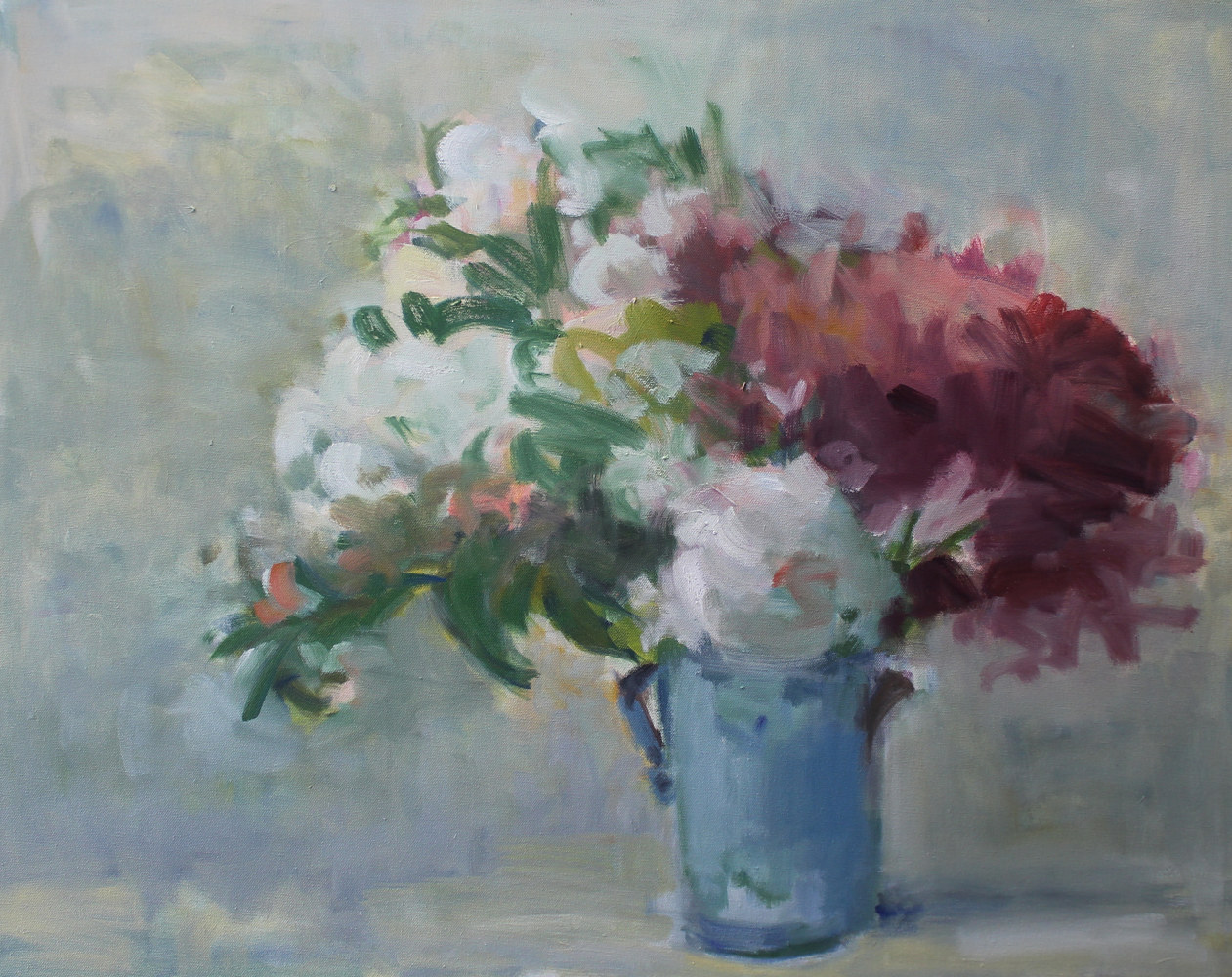 "Peonies in Blue Vase, oil on canvas, 24"" x 30"" by Susan Horn"