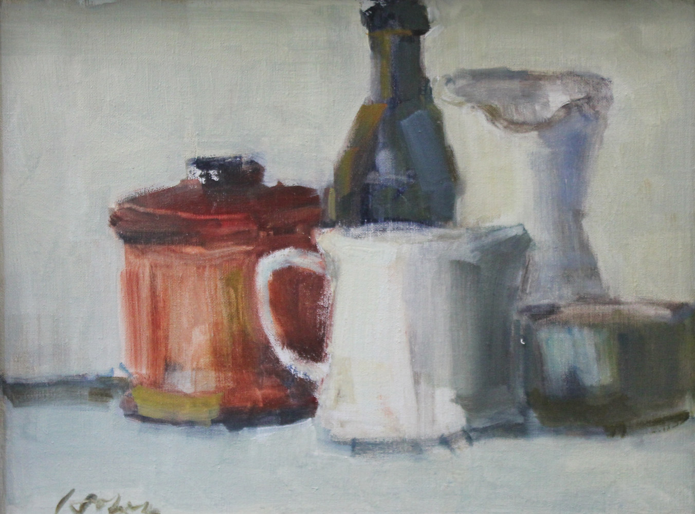 "Red Tobacco with Black Bottle, oil on board, 12: x 16"" by Susan Horn"