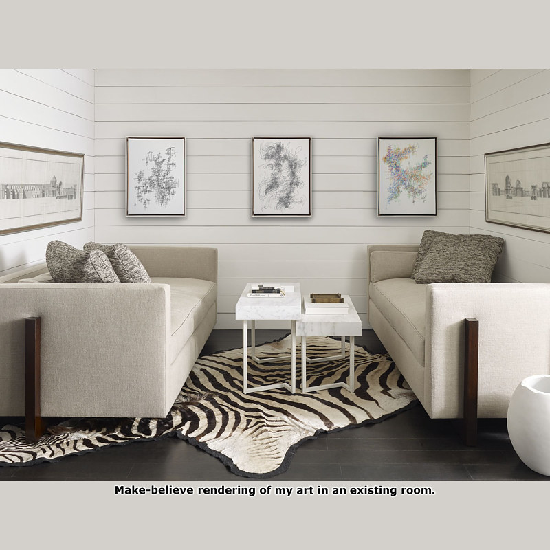 Virtual Room - Three Drawings in White Summer Room with Greige Sofas by John Hovig