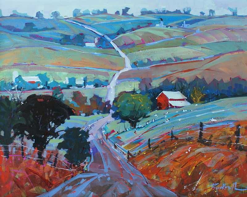 Country Roads Acrylic oc 16x20 2009 by Brian  Buckrell