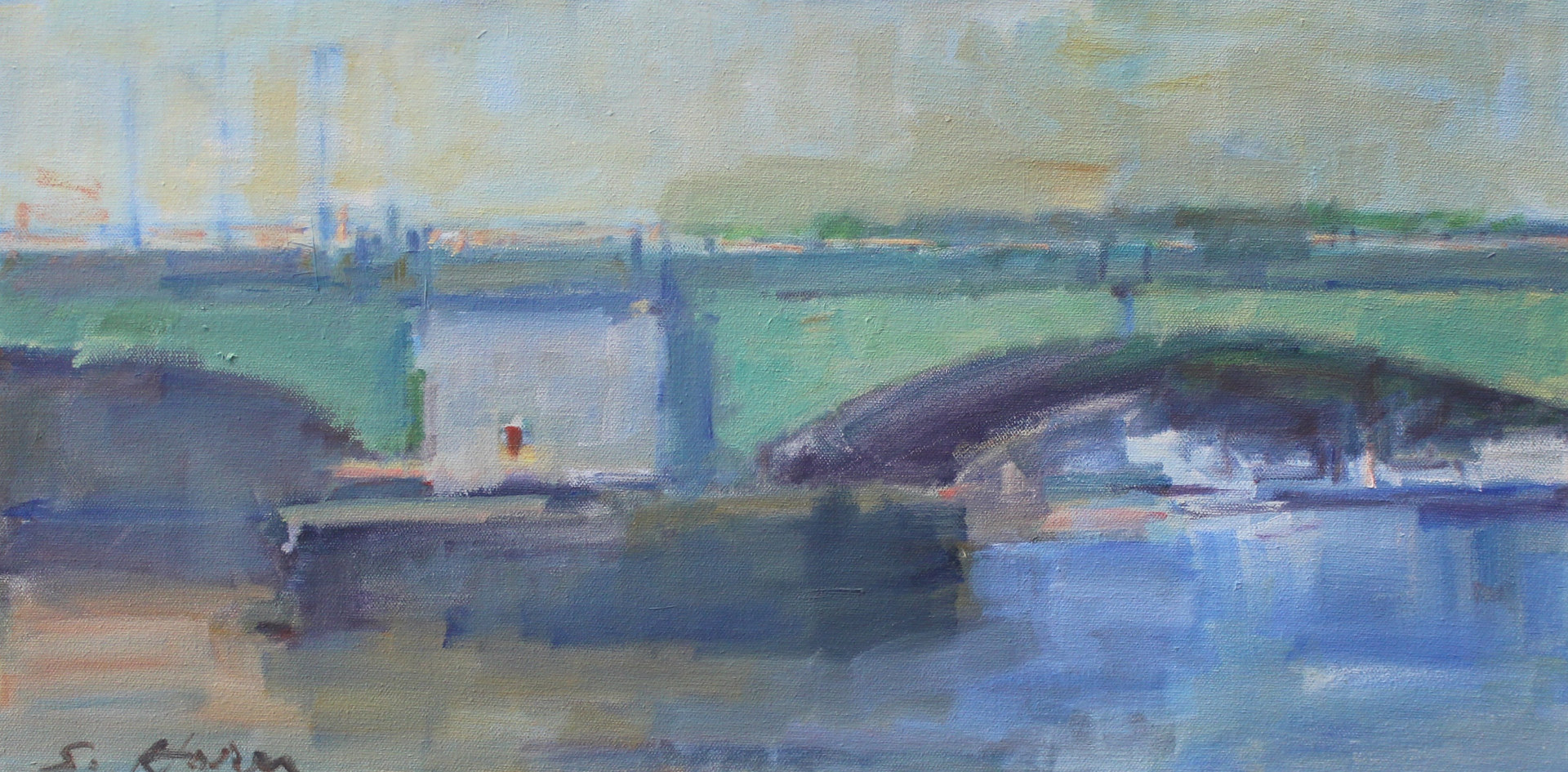 "Prescott Bridge, oil on canvas, 12 x 24"" by Susan Horn"