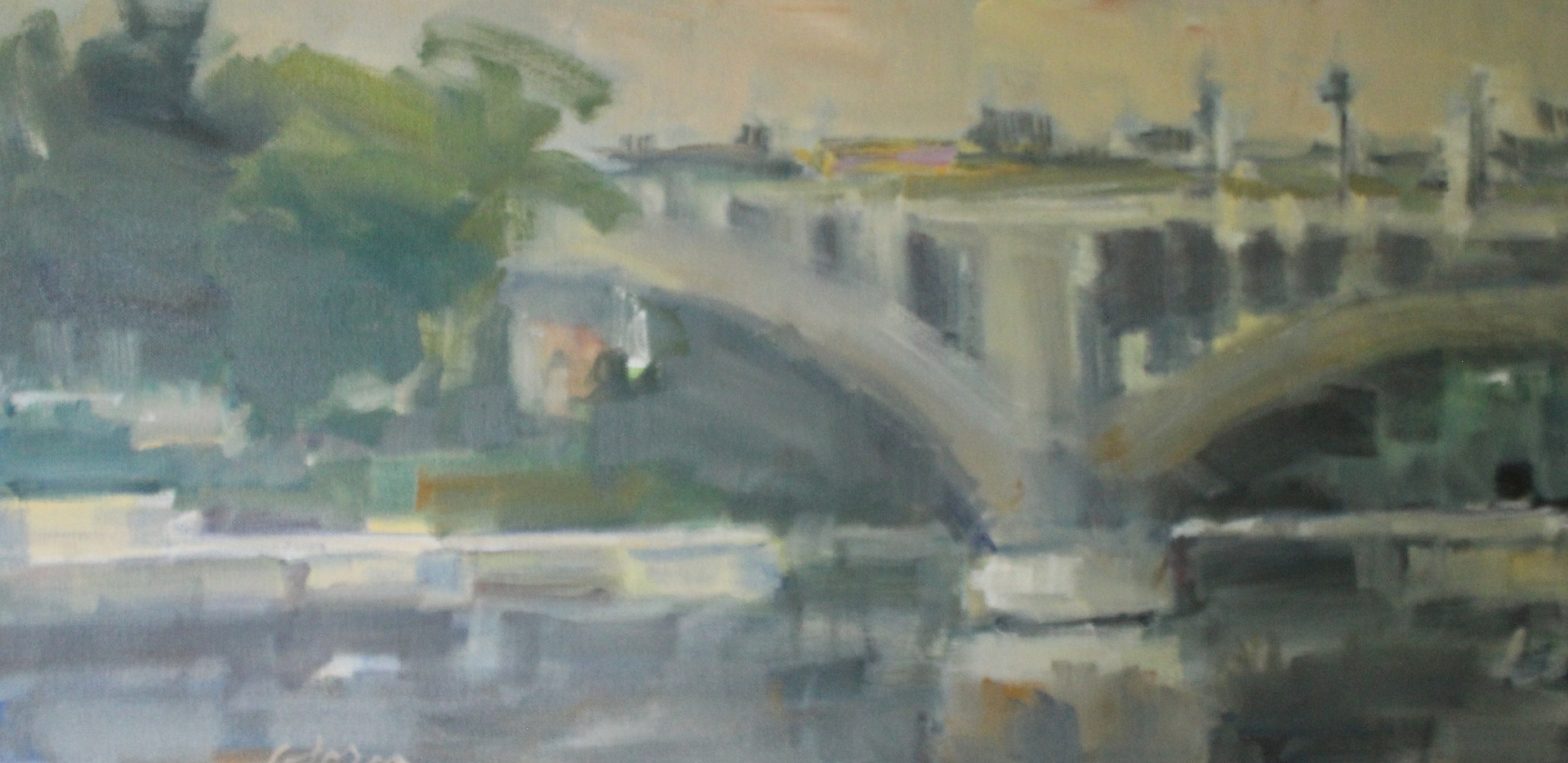 "Third Avenue Bridge, oil on canvas, 12"" x 24"" by Susan Horn"
