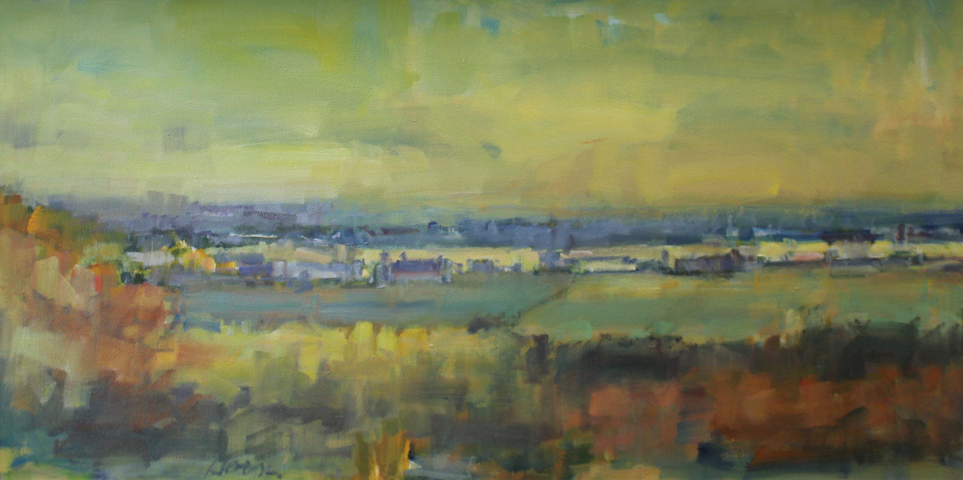 "St. Croix River Valley,Fall Evening, oil on canvas, 18""x 36"" by Susan Horn"