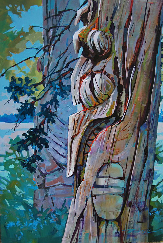 Weathered on Haida Gwaii  Acrylic 24x36 2011 by Brian  Buckrell