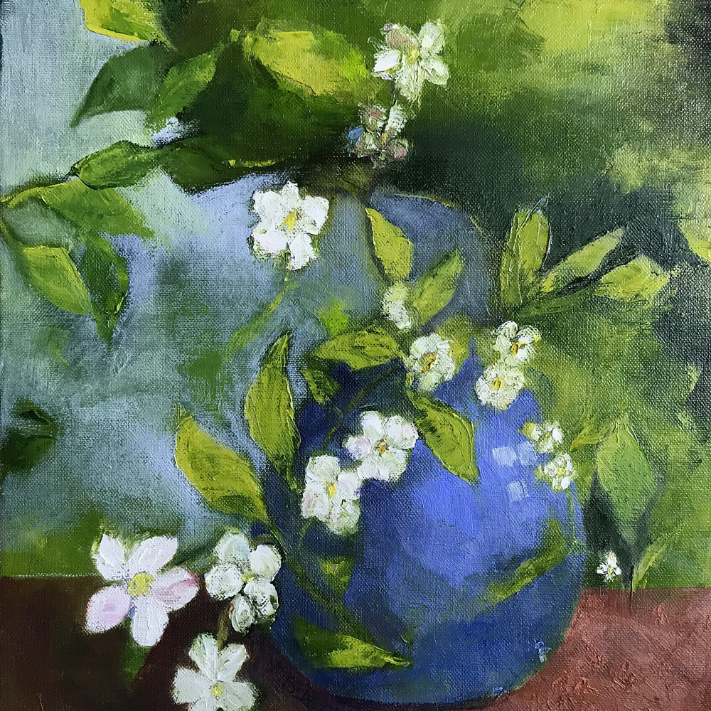 Oil painting Apple Blossom Bouquet by Yvonne Foster