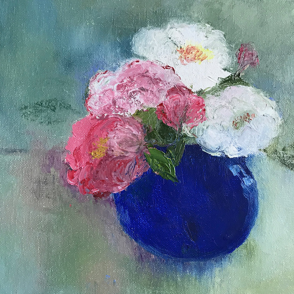 Oil painting Blue Vase 2 by Yvonne Foster