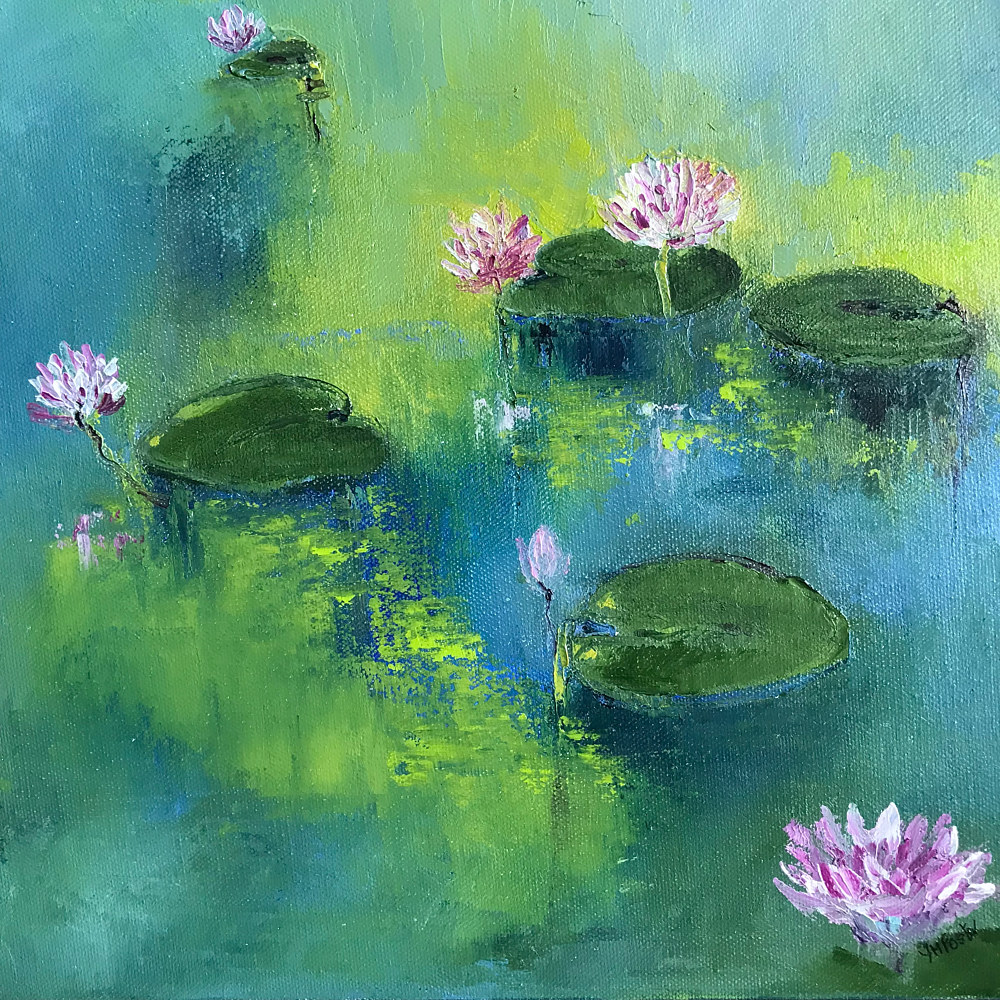Oil painting Lake of the Isles 2, Water Lilies by Yvonne Foster