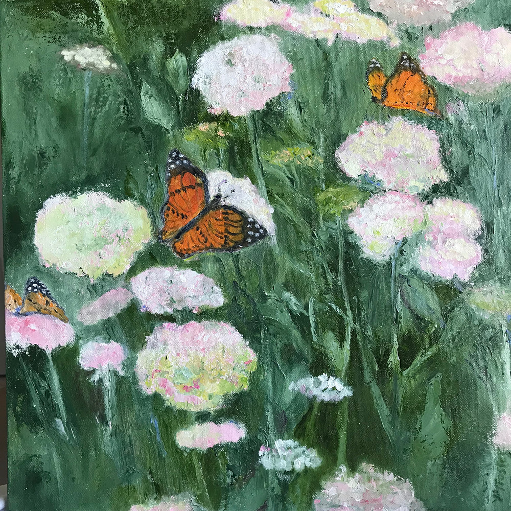 Oil painting Butterflies at Lunch by Yvonne Foster