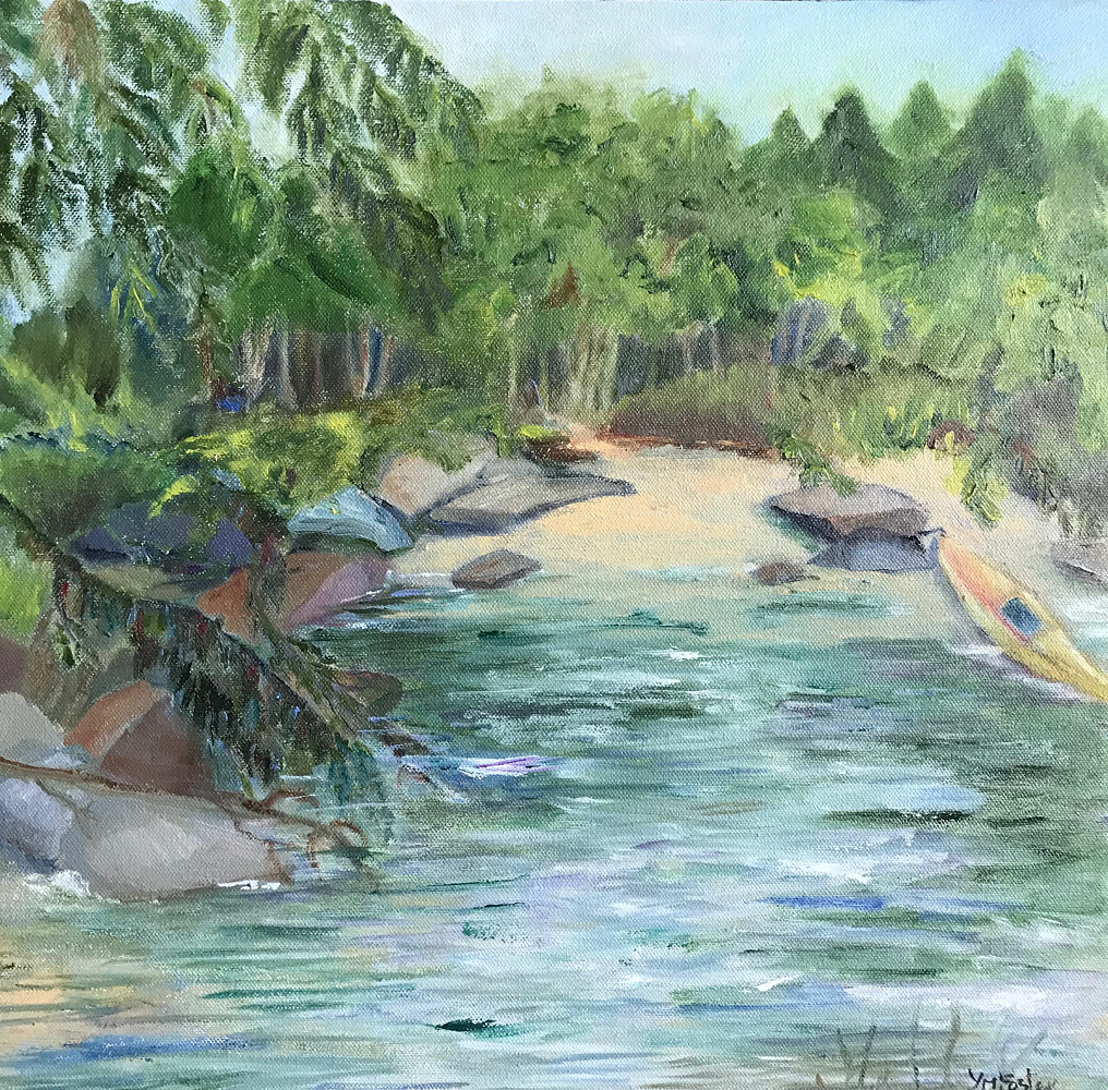 Oil painting Hidden Beach by Yvonne Foster
