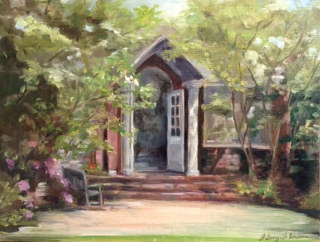 Oil painting Arboretum doorway at Oyster Bay Planting Fields by June Long-schuman