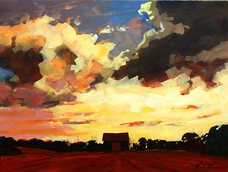 Sunset Explosion Acrylic on Canvas 18x24 2009 by Brian  Buckrell
