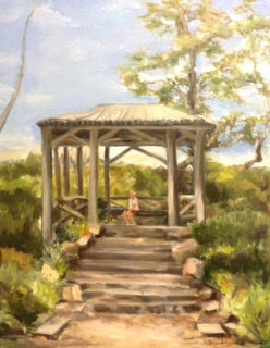 Oil painting Zen Path  by June Long-schuman