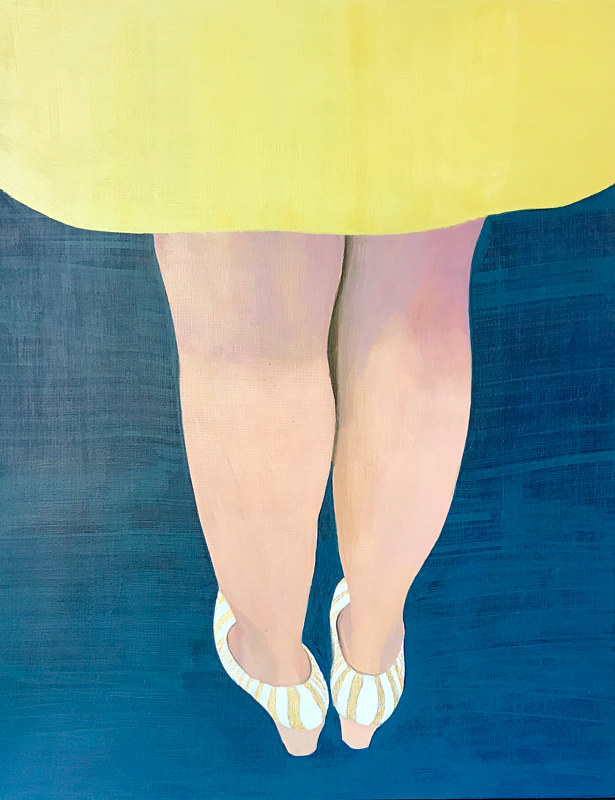 "Acrylic painting ""Woman in chartreuse skirt"" by Brad Nuorala"