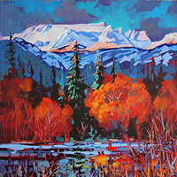 Across and Above  Comox Glacier  Acrylic 24x24 2011 by Brian  Buckrell