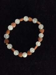 white quartzite and carnelian heart bracelet by June Long-schuman