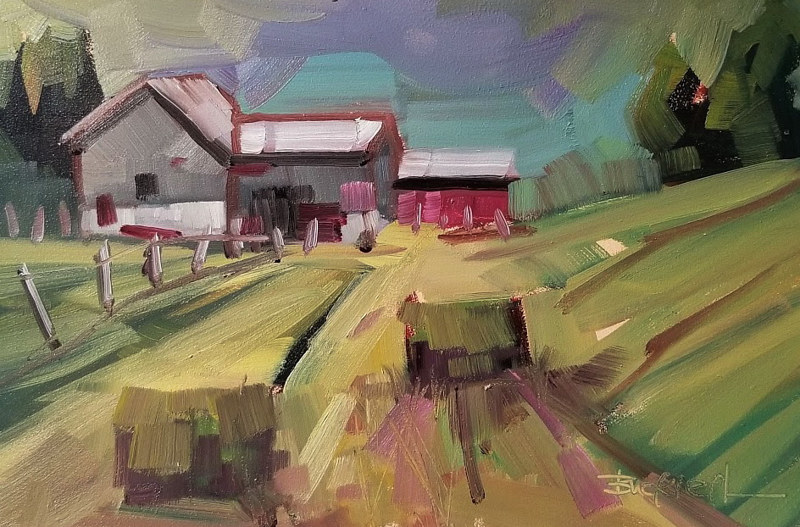 Rural Sketch Plein air  Oil 6x8 2018 by Brian  Buckrell