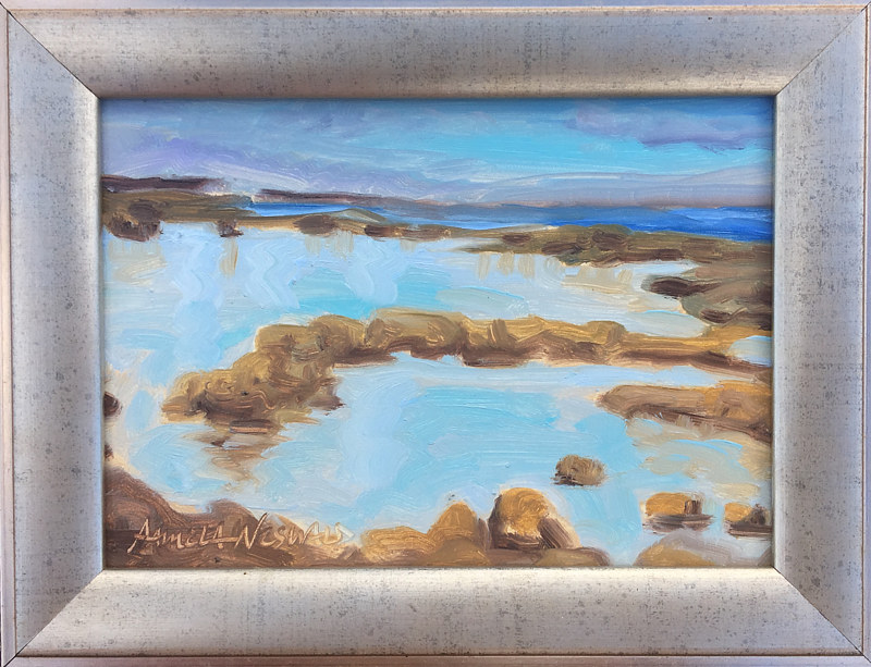 Oil painting Mama's Beach 5x7 sketch by Pamela Neswald