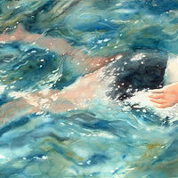 Watercolor Body of Water #1 by Linda Finn
