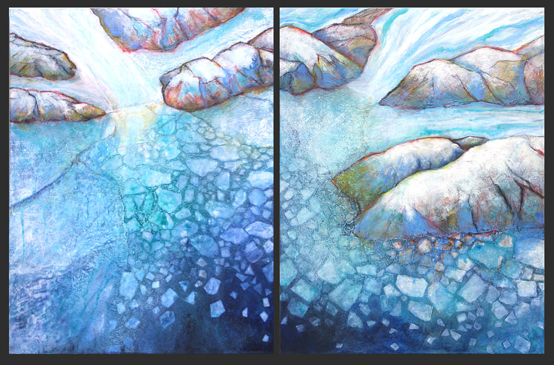 Acrylic painting Melting Glacier (diptych) by Linda Finn