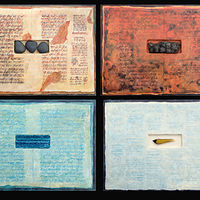 Acrylic painting Four Books About the Elements #2 by Linda Finn